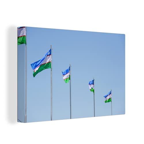 Leinwandbild - Usbekistan Flaggen - 150x100 cm