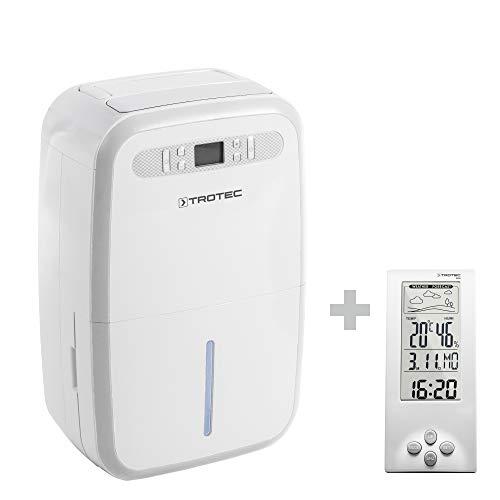 TROTEC Deshumidificador eléctrico TTK 95 E / 30L / Portátil/Para Habitaciones de hasta 90m² / 230m³ / 700 W/Auto-Apagado/Higrostato Automático/Blanco incluido el BZ06