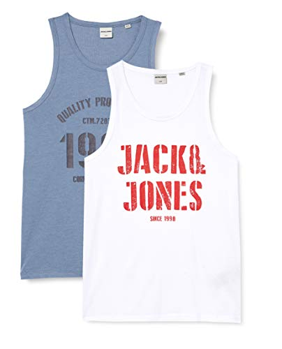 JACK & JONES Herren JCOJAY Tank TOP 2-Pack T-Shirt, China Blue, L