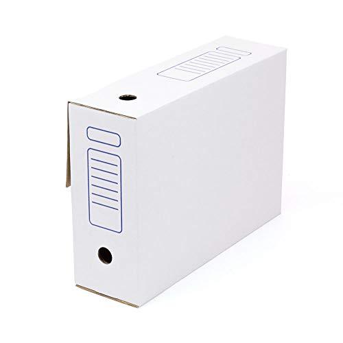 Kartox | Caja de Archivo | Montaje Automático | 38.7x11.5x28 | Tamaño Folio | Lomo de 115 mm | 20 Unidades | Color Blanco