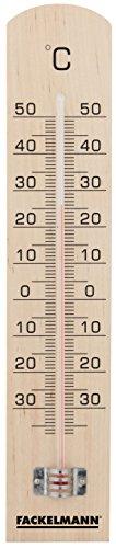 Fackelmann Thermometer TECNO, Thermometer für den Innen- und Außenbereich, analoge Temperaturanzeige (Farbe: Braun/Schwarz), Menge: 1 Stück