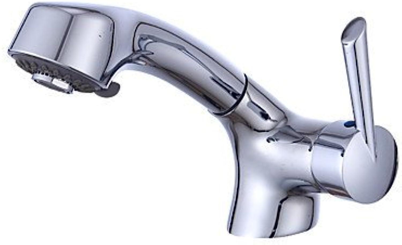 YI KUI Antik Wasserhahn Zeitgenssisch Mittellage Regendusche with Keramisches entil Einhand Ein Loch for Chrom, Waschbecken Wasserhahn