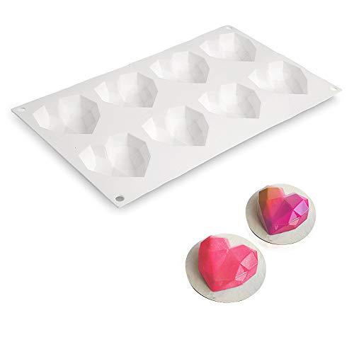 beicemania® Silikon Backform Herz 3d Kuchenform Silikon Herzform Silikon Schokolade Diamond Herz für 5 cm Kuchen oder Schokolade Weiß
