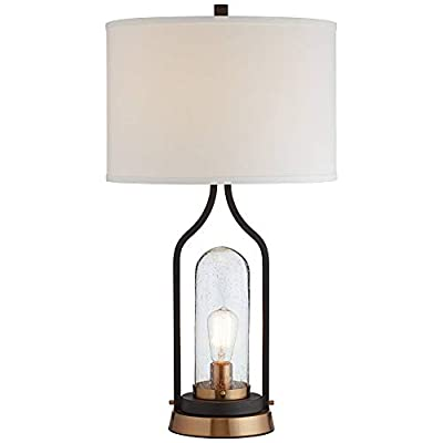Parker Industrial Farmhouse Table Lamp with Nightlight LED Bronze Brass Seeded Clear Glass Drum Shade for Living Room Bedroom Bedside Nightstand Office Family - Franklin Iron Works