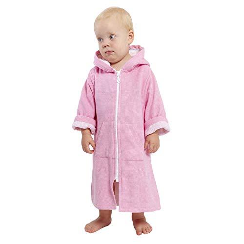 SAMMIMIS Toalla con capucha para bebé, con cremallera y forro de rizo, algodón turco, suave y absorbente - rosa - XS 6-2 años