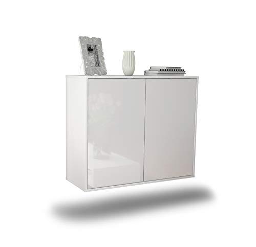 Dekati Sideboard Hialeah hängend (92x77x35cm) Korpus Weiss matt | Front Hochglanz Weiß | Push-to-Open