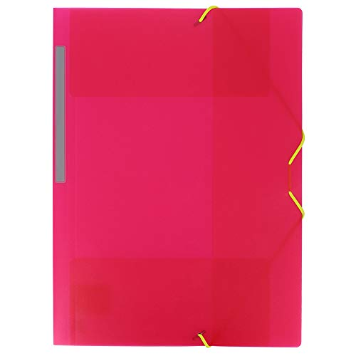 Grafoplás 04801254-Carpeta de Polipropileno con gomas y 3 solapas, color rosa, tamaño Folio