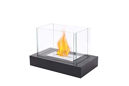 """JHY DESIGN Rectangular Tabletop Fire Bowl Pot with Four-sided Glass 13.5""""L Portable Tabletop Fireplace–Clean-Burning Bio Ethanol Ventless Fireplace for Indoor Outdoor Patio Parties Events"""