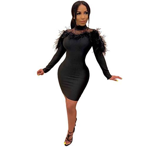 Abendkleider Damen Sexy Langarm Mesh-Feder Partykleider Festliches Hochzeit Kleider Elegant A Linie Slim Fit Minikleid Sexys Abend Party Club Kurz Paket Hip Kleid (XL, Schwarz)