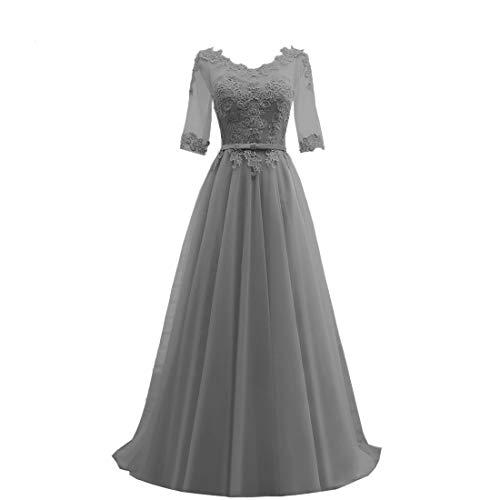 HUINI Abendkleider Lang Elegant Hochzeitskleider Damen Ballkleider mit Ärmel Brautkleider Tüll Festliche Partykleid Grau 46