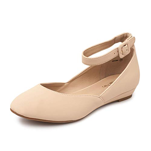 DREAM PAIRS Women's Revona Nude Nubuck Low Wedge Ankle Strap Flats Shoes - 7 B(M) US