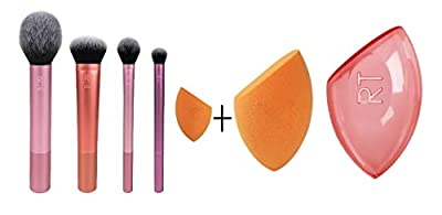 Real Techniques Makeup Brush Set with Travel Sponge Blender for Eyeshadow, Foundation, Blush, and Concealer, Set of 7