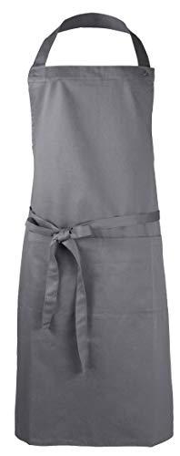 ZOLLNER Kochschürze verstellbar aus Baumwolle, 75x100 cm, grau (UVM.)