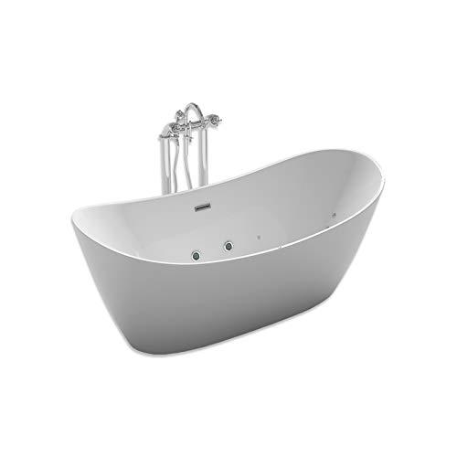 Home Deluxe - freistehende Badewanne mit Whirlpool - Design Badewanne freistehend Ovalo Plus weiß - Größe 180 x 90 x 72 cm I Indoor Jacuzzi, Spa, 2 Personen
