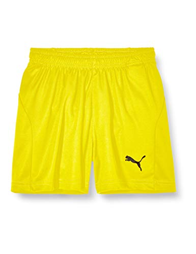 PUMA Kinder LIGA Core Shorts, Cyber Yellow Black, 140