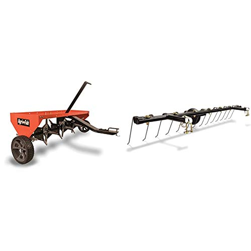 Agri-Fab 45-0299 48-Inch Tow Plug Aerator,Orange & Black,Large & 45-0343 Tine Dethatcher for All Tow Lawn Sweepers