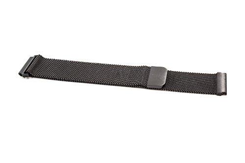 vhbw Ersatz Armband passend für Samsung Gear Sport SM-R600 Fitness Uhr, Smart Watch - 23.2cm Edelstahl schwarz Magnetverschluss