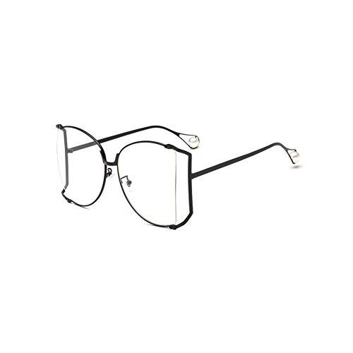 Lubier - Gafas de Sol para Mujer, con Marco Grande, Perlas, Gafas de Sol de Metal Coloridas, Gafas de Corte de Borde, Gafas de Sol Deportivas de Gran tamaño para Exteriores (1 Unidad)