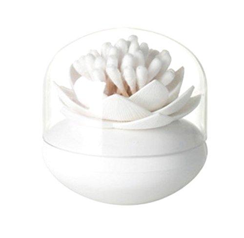 dylandy Wattestäbchen Halter Spender Lotus Form q-tips Wattestäbchen Bälle Organizer Zahnstocher Fall Kosmetik Make-up Aufbewahrungsbox Container (grün), weiß, 8.1 * 8.1 * 8.4 cm