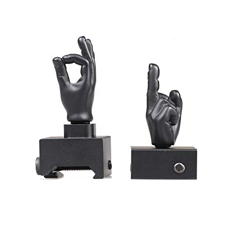 STINGER Novelty Finger Sight Set, Backup Front and Rear Iron Sight BUIS Set, Fit Picatinny Rail and Weaver (Black Color, Straight 90 Degree)