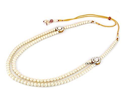 Catalyst White Pearl Wedding Necklace Jewellery for Groom | Dulha Moti Mala Haar for Men(CM1 WHT)