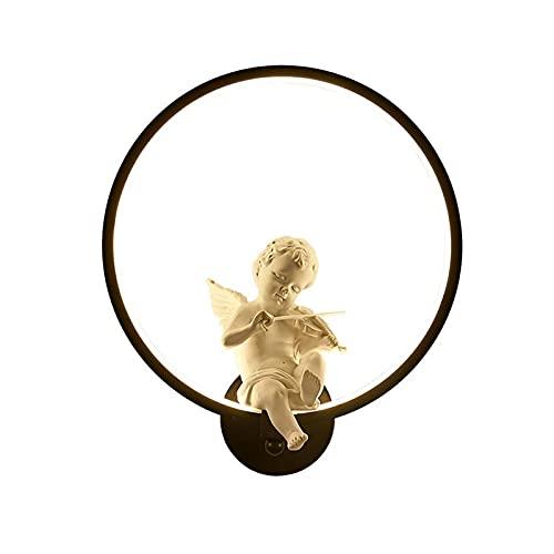 YXLMAONY Lámpara de pared de aluminio para interiores, lámpara decorativa de pared de fondo de habitación LED, lámpara de iluminación de cabecera de dormitorio con forma de ángel tocando el violín, ad