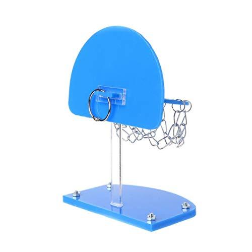 Hiinice 1pc Bird inteligencoa Mini Baloncesto Estante del Juguete Capacitación para Mascotas Loro perico cacatúas Jaula de Hueso de Juguete para Mascotas Suministros Bites (Azul)