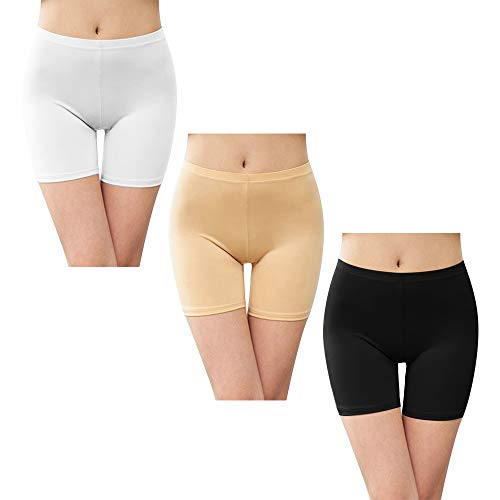 Litthing Shorts Sicherheit Short Legging Woman Under Skirt Größe Baumwolle Elastic Soft Light Thin (Weiß+Schwarz+Fleisch, M)