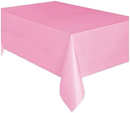 Unique Party 50362 - Plastic Baby Pink Tablecloth, 9ft x 4.5ft