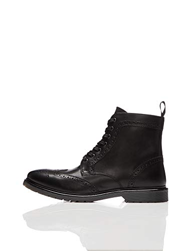 find. Dalston Leather Cleated Brogue Biker Boots, Schwarz (Black/Black), 44 EU
