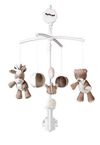 Nattou Mobile mit Musik für Babybett, Mädchen und Jungen, beige - Max, Noa und Tom