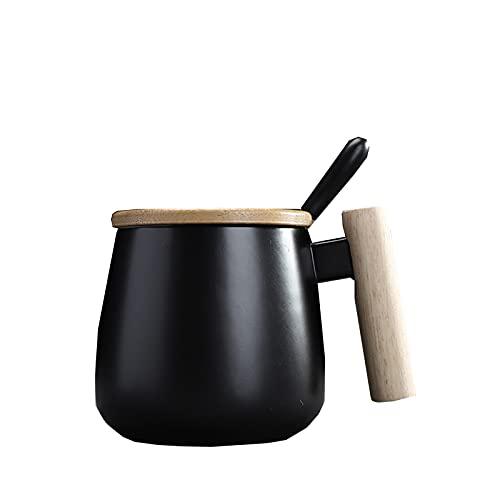 BUGIP Tazas de cerámica de la manija de Madera del Estilo nórdico Taza de café de la Gran Capacidad de la Taza de la Taza de la Cucharada Taza de té de café Taza de té Transmision Webware
