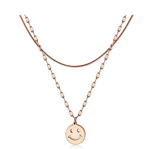 Gargantilla colgante de acero de titanio chapado en oro rosa de doble capa cara sonriente cadena de clavícula joyería de moda collar colgante