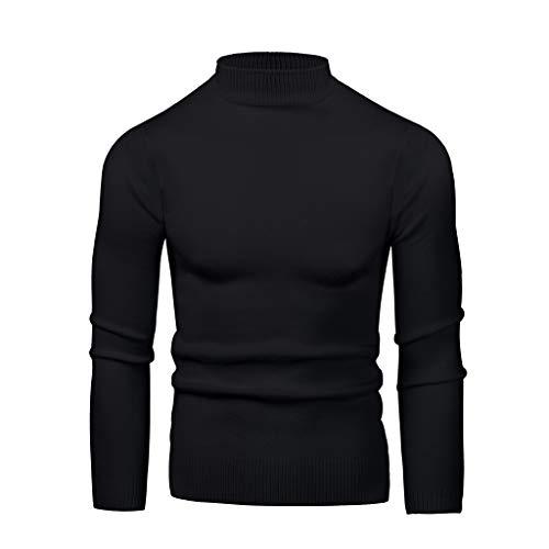 TOPUNDER Men's Round Neck High Collar Large Elastic Long Sleeve Bottoming Sweater Black
