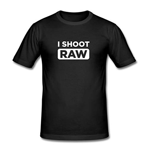 I Shoot RAW Männer Slim Fit T-Shirt, M, Schwarz