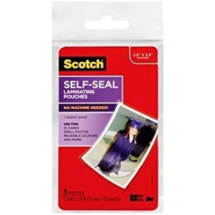 Scotch(TM) Self-Sealing Laminating Pouches PL903G, 2.9 in x 3.8 in (74 mm x 99 mm) You are purchasing the Min order quantity which is 24 EACH:Hashflur
