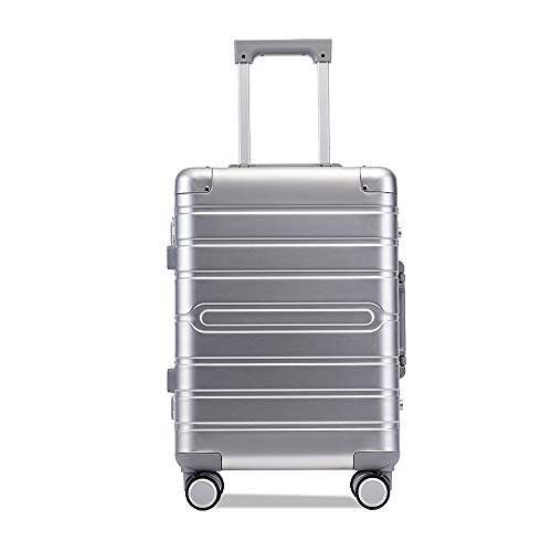 Great Features Of Luggage Suitcase Hardside Carry On Luggage Aluminum Alloy Trolley Suitcase Spinner...