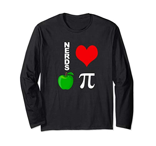 Nerds Love Apple Pi Funny Math Pun Pi Teacher Long Sleeve T-Shirt