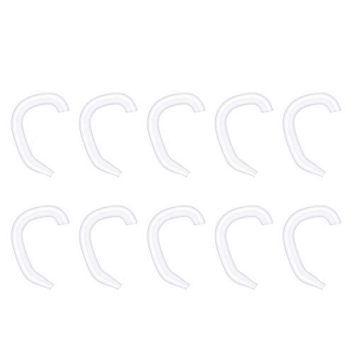 WEISS イヤーフック 10個 イヤーループカバー 耳保護カバー 耳の痛みを軽減できる 柔らかい 軽い 肌に優しい 痛みを減らす 再利用可能 シリコン素材 黒か白 透明 イヤホン用 大人用 子供用 (ホワイト)