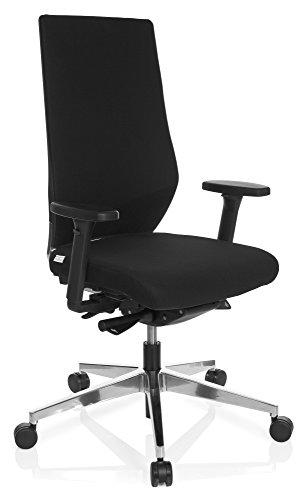 hjh OFFICE 608841 Profi Bürostuhl PRO-TEC 700 Stoff Schwarz Drehstuhl ergonomisch, Sitztiefe & Armlehnen verstellbar