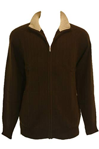 Shephe 4 Ply Men's Cardigan Cashmere Sweater Full Zip Closure Bi-Color Collar Chocolate Medium