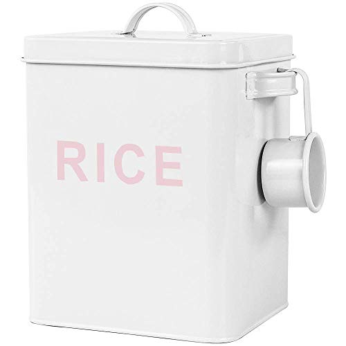 QD-SGMP米びつ5kgライスストッカーおしゃれ密閉金属製こめびつお米保存容器お米入れお米ケース貯蔵タンクキッチン収納米櫃小麦粉コーヒー豆防虫防湿スリム清潔便利(ホウイト)