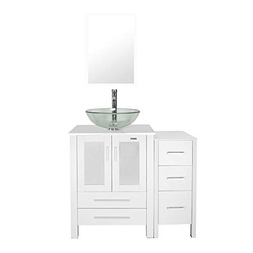 eclife 36 Bathroom Vanity Sink Combo White W/Side Cabinet Vanity Clear Round Tempered Glass Vessel Sink & 1.5 GPM Water Save Chrome Faucet & Solid Brass Pop Up Drain,W/Mirror (A16B11W)