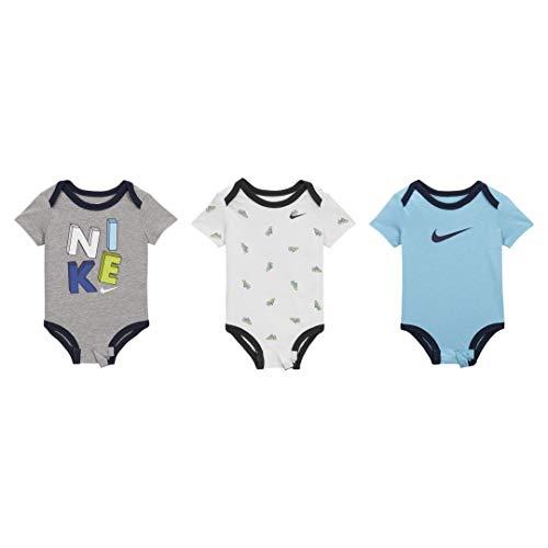 Nike Air Max Baby Jungen Boys Set 3 Bodysuits 0-3 Monate Grau Blau Weiß