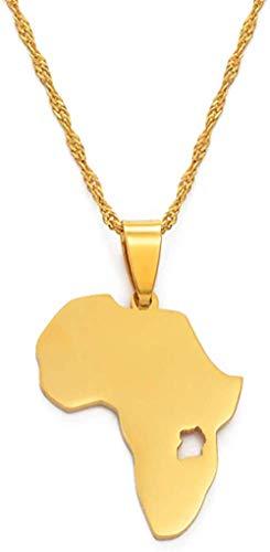 CXYCXY Co.,ltd Collar Mapa de Uganda Collares Pendientes Mapa de joyería de Color Dorado Regalo de Uganda 60Cm