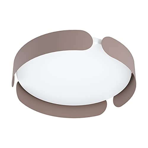 EGLO Lámpara LED de techo Valcasotto, 1 foco, lámpara de techo moderna, minimalista, lámpara de salón, de metal en color marrón y plástico en blanco, lámpara LED de dormitorio blanco cálido