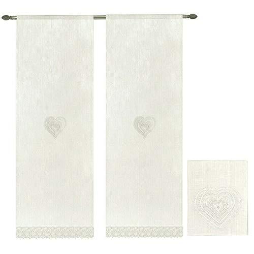 emmevi Tende Finestre Porta Interno Cuore Tessuto Lino Bianco Coppia 2 Pz più Misure MOD.Tenda Pizzo 60X240