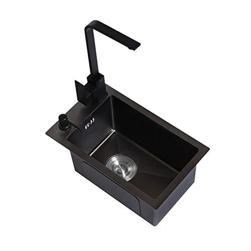 JJZXD Negro Nano Mano de la Barra Fregadero pequeño Fregadero de un Seno 304 de Acero Inoxidable Cocina Balcón Mini Lavabo por Encima de Venta Libre o bajo Cubierta (Color : 4628b)