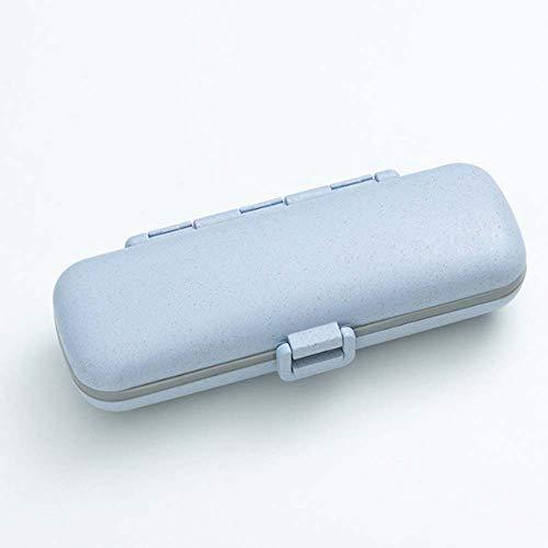 Lecez Caja de píldoras de plástico, Caja de Pastillas portátil de Viaje, Caja de Almacenamiento sellada, Mini Anillo de Sellado de Silicona de Doble Capa, Azul, Rosa, Amarillo, 13.8x4.5x2.8cm