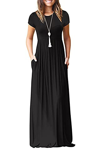 GRECERELLE Women's Short Sleeve Loose Plain Maxi Dresses Casual Long Dresses with Pockets Black Large